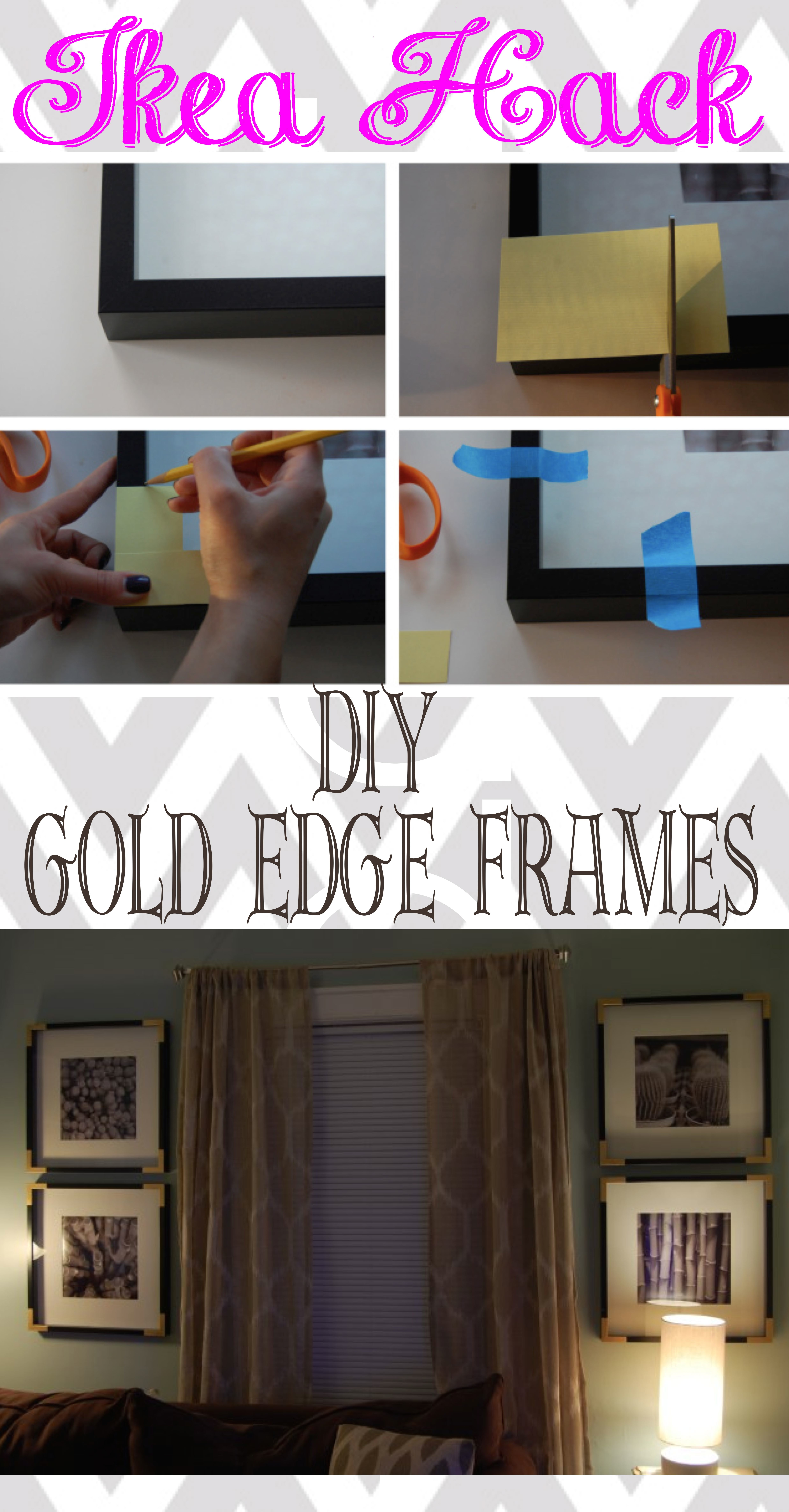 Gold Edge Frame Hack https://made2style.com/2012/11/07/ikea-ribba-hack-glammed-corners/