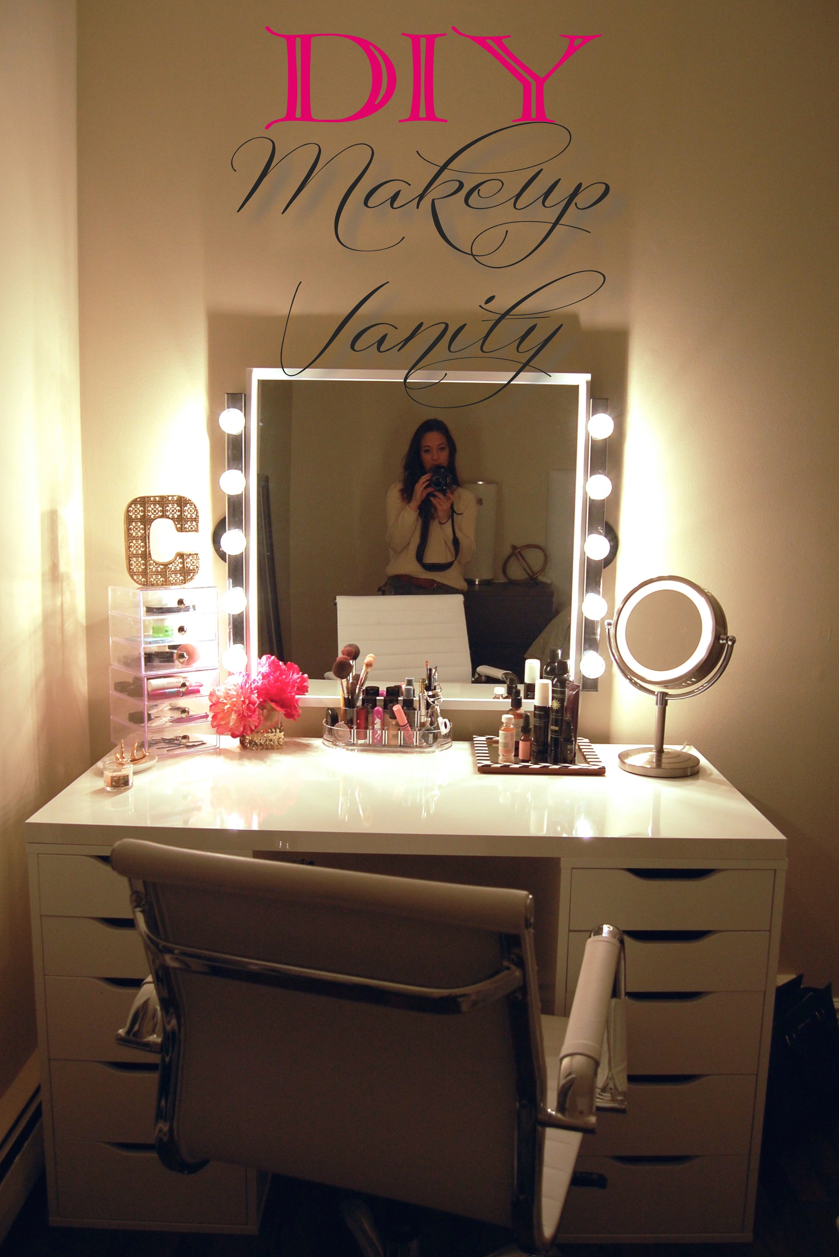 desk vanity mirror with lights.  DIY Makeup Vanity