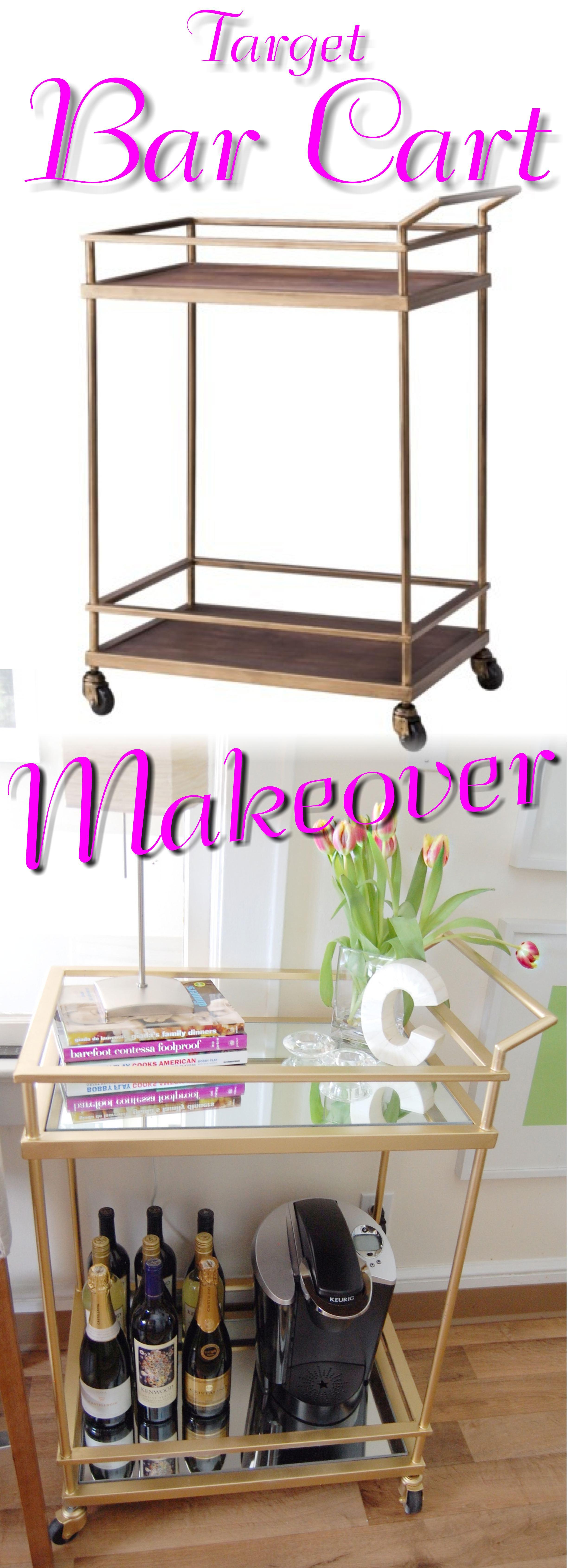{Gold & Mirrored} Target Bar Cart Hack